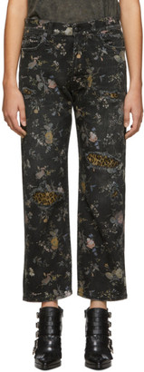R 13 Black and Multicolor Denim Floral Boyfriend Jeans