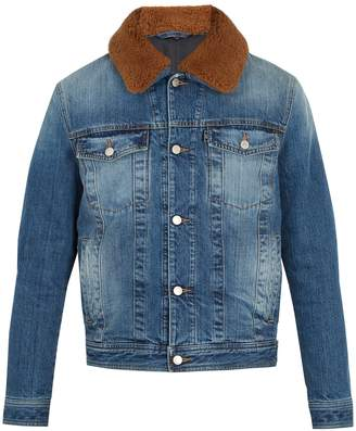 Ami Contrast shearling-collar denim jacket