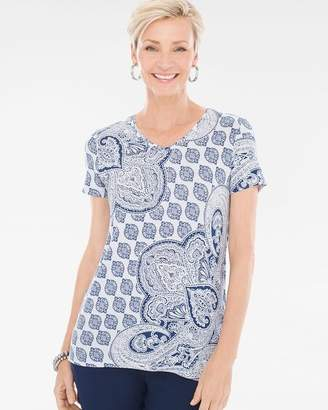 Chico's Chicos Tile Paisley V-Neck Tee
