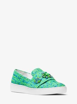 Michael Kors Henna Embellished Jacquard Slip-On Sneaker