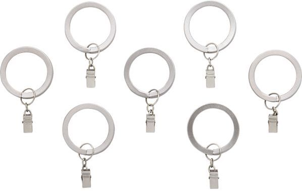 Crate & Barrel Set of seven matte nickel rings with clips.