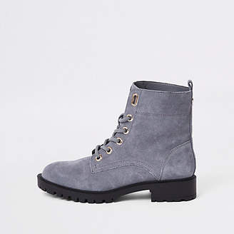 River Island Grey suede lace-up ankle boots