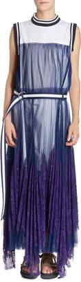 Sacai Striped-Border Sleeveless Pleated Tulle Overlay Long Dress