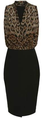 Roberto Cavalli Paneled Leopard-Print Wool-Blend Dress