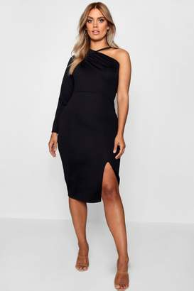 boohoo Plus Split Front Asymmetric Midi Dress