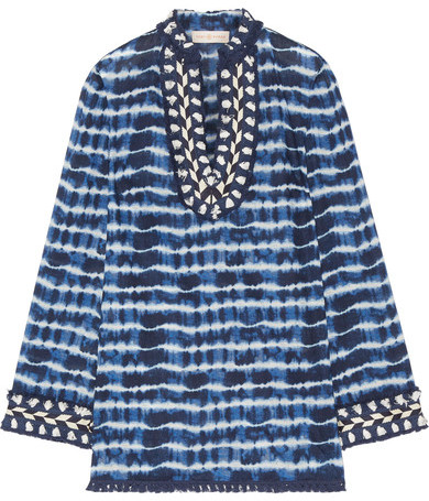Tory Burch Tory Burch - Tory Embellished Tie-dyed Cotton-voile Tunic - Blue
