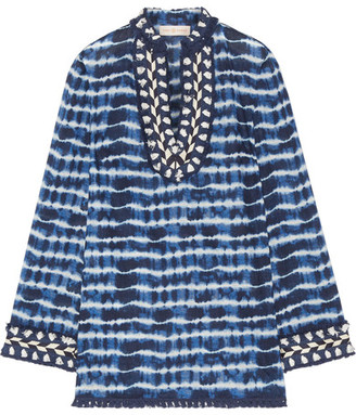 Tory Burch - Tory Embellished Tie-dyed Cotton-voile Tunic - Blue $295 thestylecure.com
