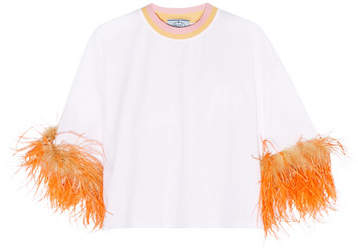 Prada - Feather-trimmed Cotton-jersey T-shirt - White