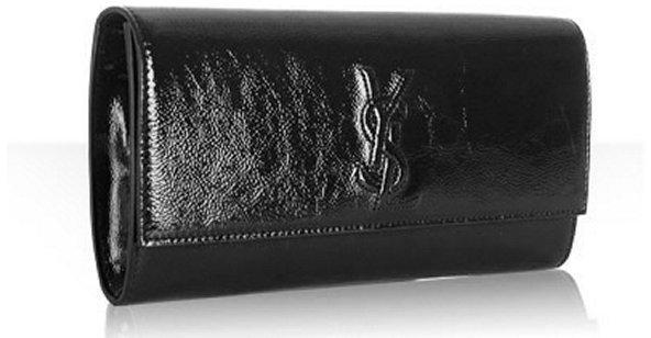 Yves Saint Laurent black patent leather 'Belle De Jour' clutch