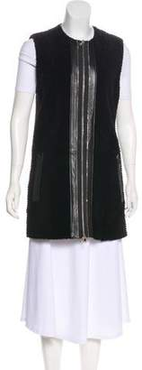 Drome Leather-Trimmed Faux Fur Vest