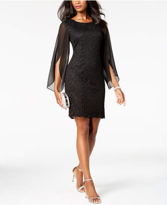 Connected Petite Angel-Sleeve Lace Sheath Dress