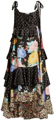 ATTICO Carmen floral and star-print satin dress