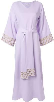 LAYEUR embroidered trim maxi dress
