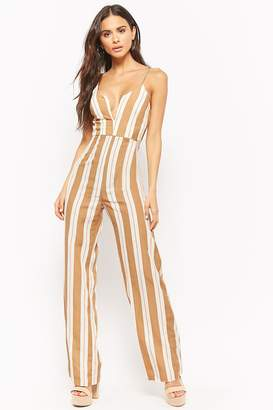 Forever 21 Striped V-Wire Jumpsuit