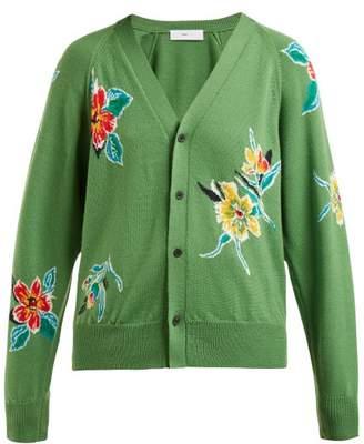Toga Floral Intarsia Wool Cardigan - Womens - Green