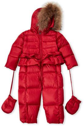 ADD Toddler Girls) Real Fur Trim Hooded Down Snowsuit