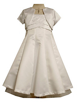 Bonnie Jean Girls' 7-16 White Pleated Cross Closure Dress with Jacket