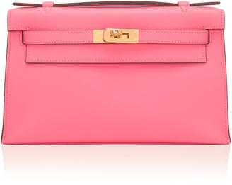 Madison Avenue Couture Hermes Rose Azalea Swift Leather Mini Kelly Pouchette