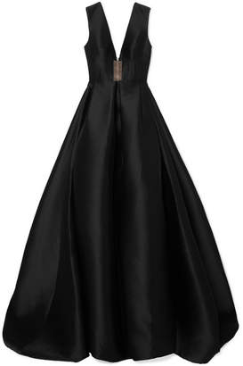 Alex Perry - Axel Tulle-trimmed Pleated Duchesse Silk-satin Gown - Black