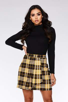 f228e24c6f Quiz Mustard and Black Check Pleated Skirt