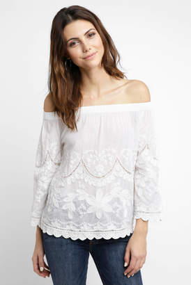 Blank NYC Get A Clue Embroidered Off The Shoulder Top