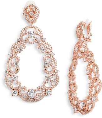 Nina Scroll Pave Earrings