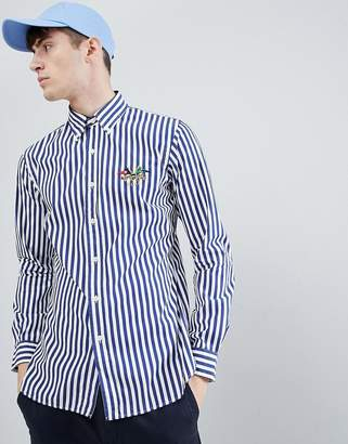 Polo Ralph Lauren Slim Fit Button-Down Wide Stripe Poplin Shirt Flag Logo Embroidery In Blue/White