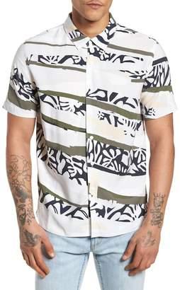 NATIVE YOUTH Tropi Camo Woven Trim Fit Shirt