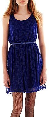 JCPenney Bailey Blue Sleeveless Lace Dress