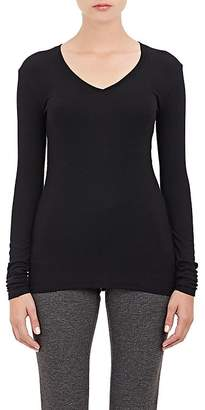 ATM Anthony Thomas Melillo Women's Ribbed V-Neck Long-Sleeve Shirt