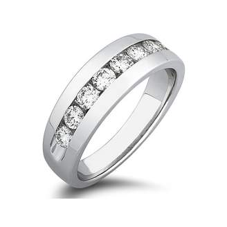 South Beach Diamonds 0.70 ct Men's Round Cut Diamond Wedding Band Ring In Channel Setting in 18 kt White Gold In Size 4.5