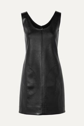 Peter Do - Paneled Faux Leather And Satin Mini Dress - Black