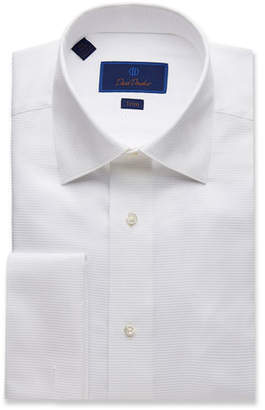 David Donahue Men's Trim-Fit Ribbed Formal Dress Shirt