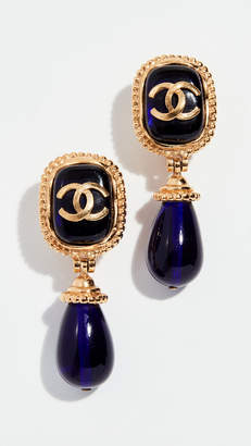 Chanel What Goes Around Comes Around Blue Dangle Stone Earrings
