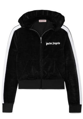 Palm Angels Cropped Striped Chenille Hoodie - Black