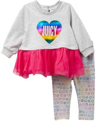 Juicy Couture Rainbow Foil Heart Tulle Bottom Tunic & Leggings Set (Baby Girls 3-9M)