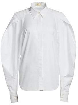 ee0da3db Sara Battaglia Women's Long-Sleeve Poplin Full-Sleeve Button-Down Shirt