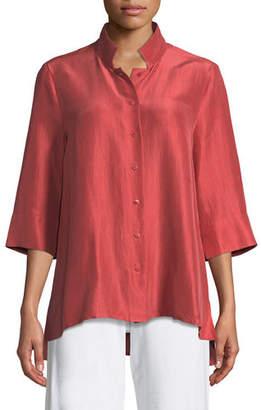 Eileen Fisher 3/4-Sleeve Silk Doupioni Shirt, Petite