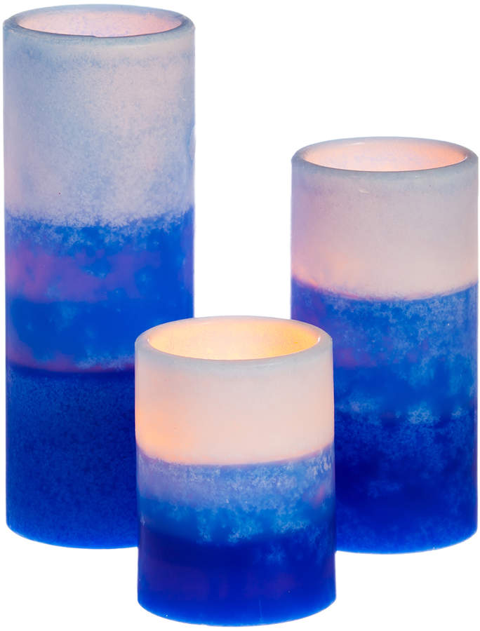 Blue Battery Operated Flameless LED Pillar Candle - Set of Three