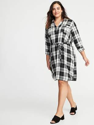 Old Navy Plaid 3/4-Sleeve Tie-Belt Plus-Size Shirt Dress