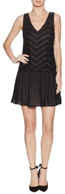Alice + Olivia Lyla Silk Beaded V-Neck Drop Waist Dress