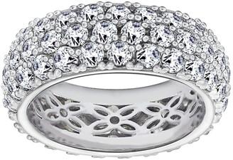 Diamonique 5.45 cttw Three-Row Band Ring, Platinum Clad