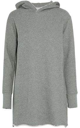 Mélange Cotton-Blend Terry Hooded Mini Dress