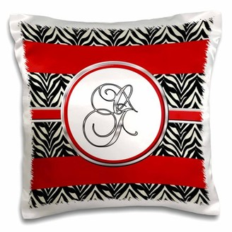 3dRose Elegant Red Black Zebra Animal Print Monogram Letter G - Pillow Case, 16 by 16-inch