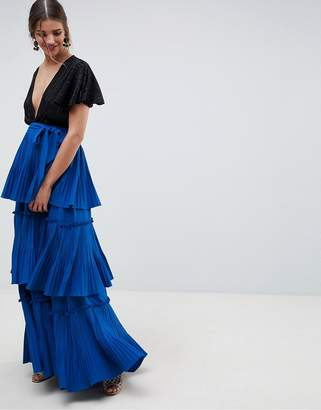 Asos Design DESIGN premium tiered pleated Maxi Skirt