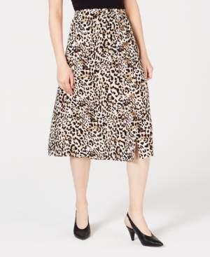 BCX Juniors' Animal-Print Buttoned Skirt