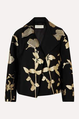 Dries Van Noten Vaudi Cropped Metallic Floral-jacquard Jacket - Black