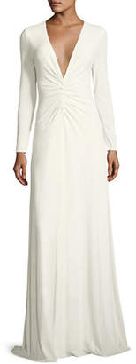 Halston Ruched V-Neck Long-Sleeve Gown