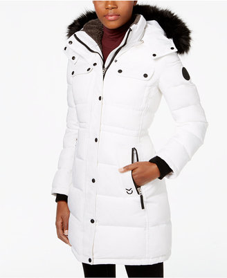 Calvin Klein Faux-Fur-Trim Quilted Puffer Coat $390 thestylecure.com