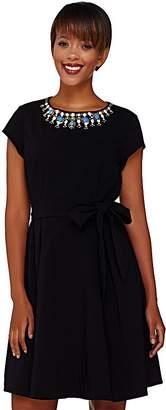 Isaac Mizrahi Live! Special Edition Embellished Neckline Dress